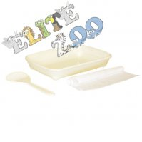 Cat cuvette oval with a spatula and bags WHITE ANCIENT 37x28x6cm Yarro
