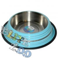 Metal bowl on rubber with stripes 1 L Yarro